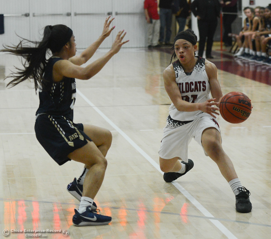. Chico State\'s Shay Stark (21) tries to get past Monterey Bay\'s Christine Golfo (23), Thursday, February 1, 2018, in Chico, California. (Carin Dorghalli -- Enterprise-Record)