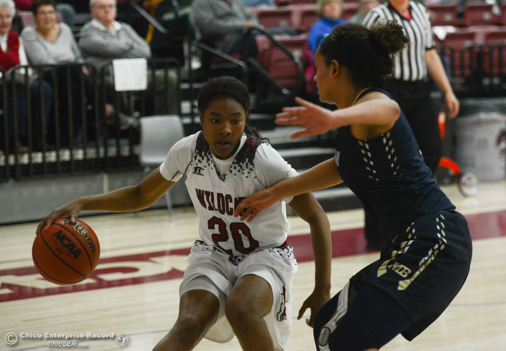 . Chico State\'s Aqeelah Williams (20) tries to get past Monterey Bay\'s Brianna Tucker (1), Thursday, February 1, 2018, in Chico, California. (Carin Dorghalli -- Enterprise-Record)