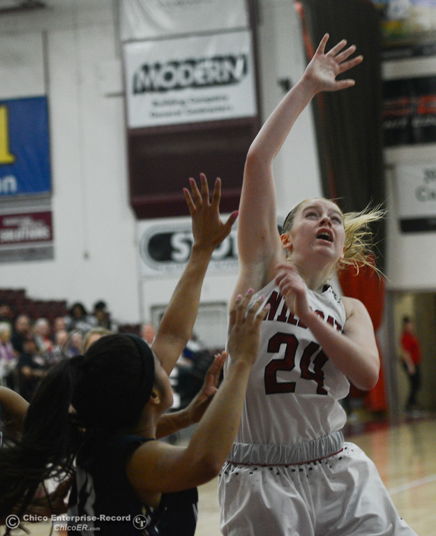 . Chico State\'s Vanessa Holland (24) watches to see if her shot goes in, Thursday, February 1, 2018, in Chico, California. (Carin Dorghalli -- Enterprise-Record)