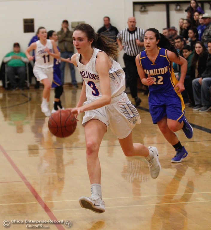 . Durham\'s Lindsey Bryant (3) get past Hamilton\'s Morgan Avrit (22), Thursday, January 25, 2018 at Durham High School in Chico, California. (Carin Dorghalli -- Enterprise-Record)
