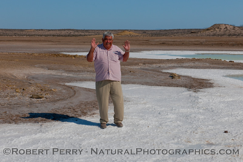 Our tour bus driver, Andreas, on salt pond near San Ignacio.