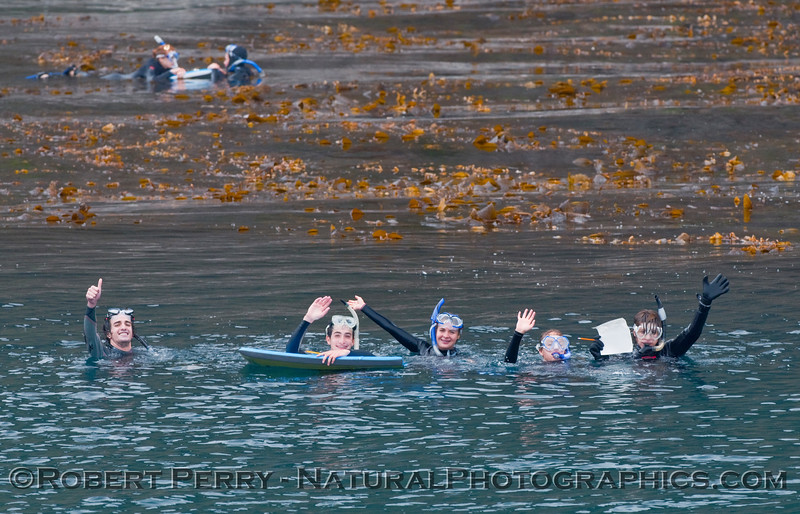 Malibu High School marine biology students engaged in field work.  It's a tough life, but somebody has to be a student!