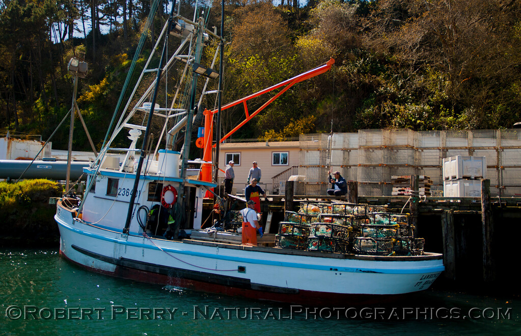 """Fishing vessel """"Lawrence"""" with crab traps - Noyo Harbor."""