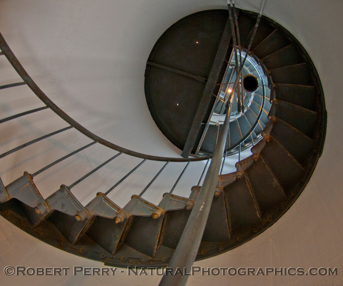 Fisheye view of the Spiral Stairs inside Pt Arena Lighthouse.