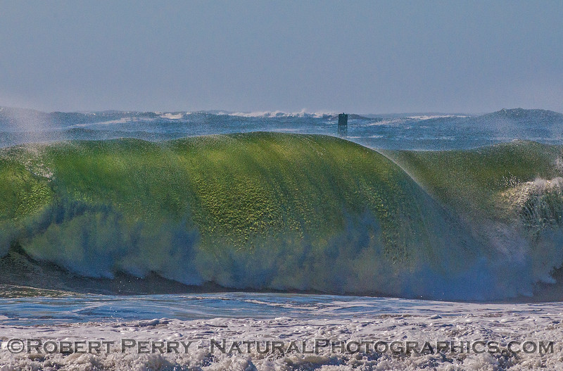 Big surf at Rodeo Beach, Marin Headlands and even bigger stuff out on Centissima Reef.