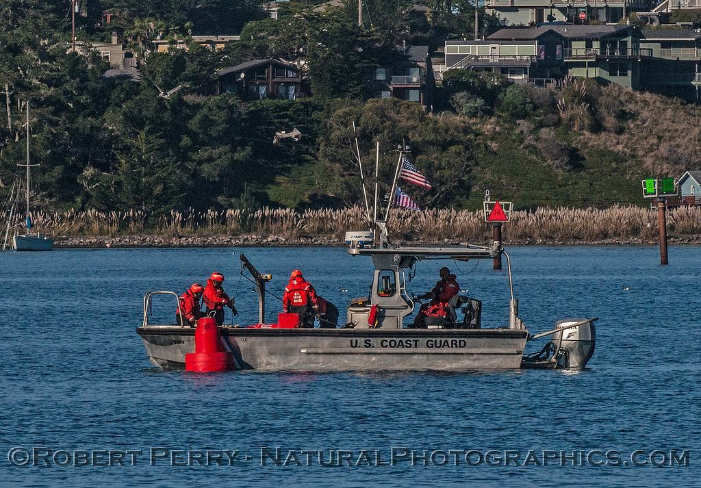 USCG maintaining buoys in Bodega Bay.