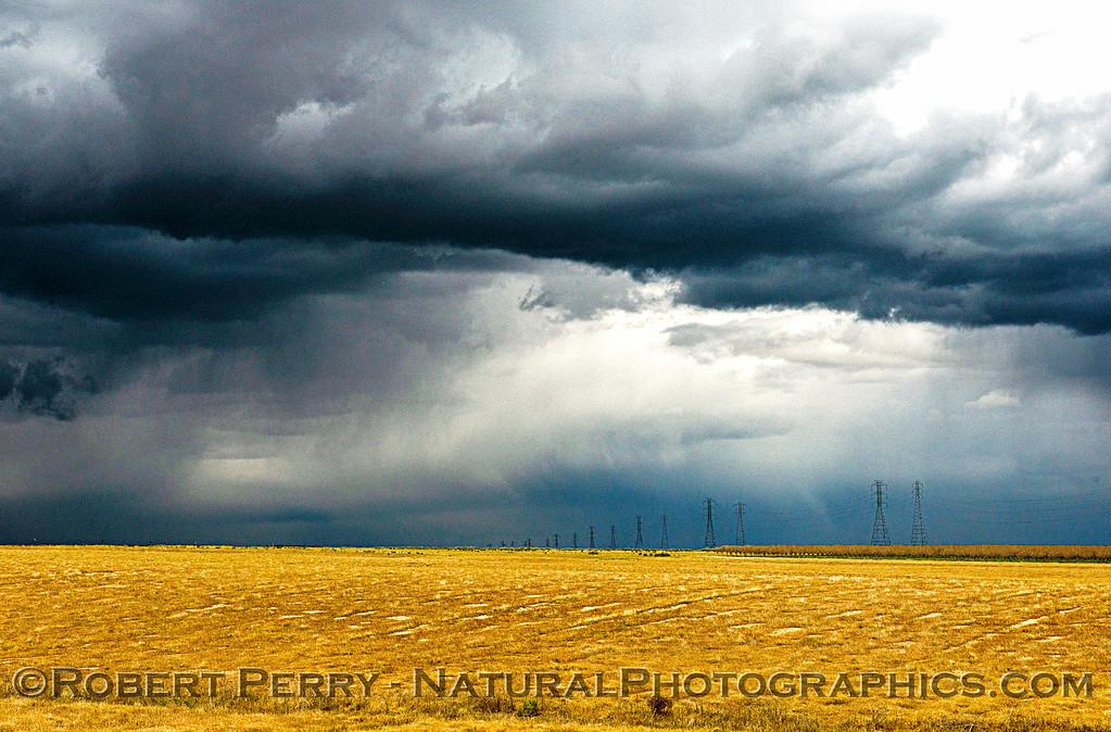 Sunny grassland and stormy skies.