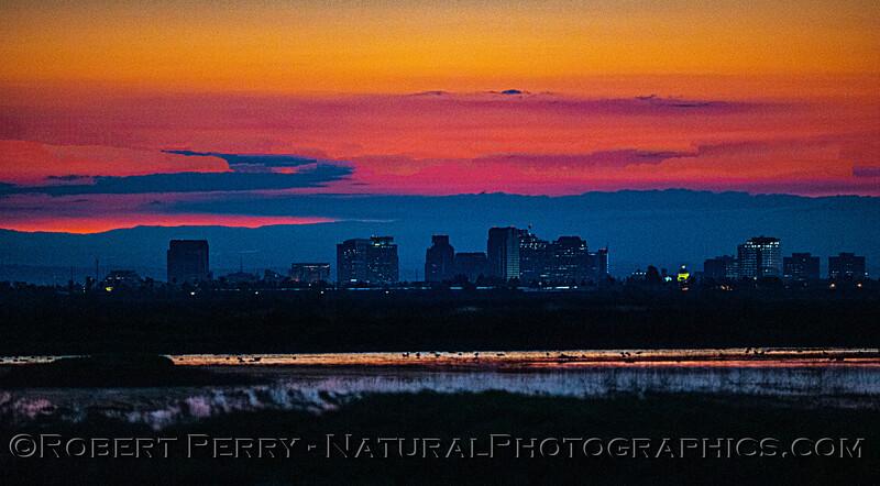 view of Sacramento at dawn PANO 2020 03-20 Yolo ByPass--049