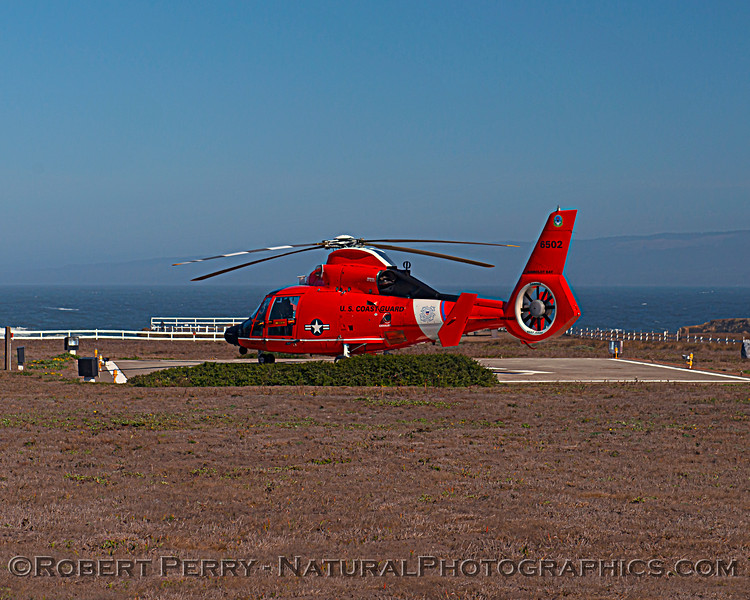 US Coast Guard M-65 short range recovery helicopter near lighthouse 2020 10-22 Pt Arena-b-001