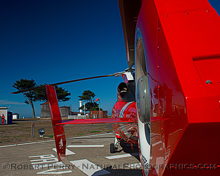 US Coast Guard M-65 short range recovery helicopter near lighthouse 2020 10-22 Pt Arena-b-050
