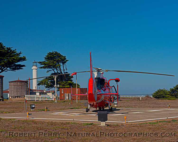 US Coast Guard M-65 short range recovery helicopter near lighthouse 2020 10-22 Pt Arena-b-003