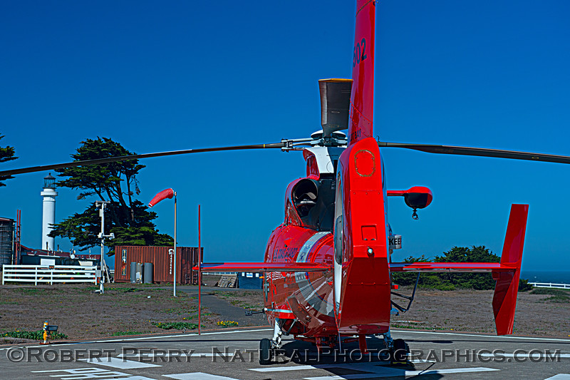 US Coast Guard M-65 short range recovery helicopter near lighthouse 2020 10-22 Pt Arena-b-027