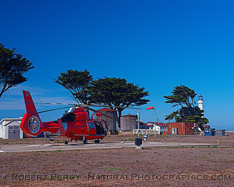US Coast Guard M-65 short range recovery helicopter near lighthouse 2020 10-22 Pt Arena-b-005