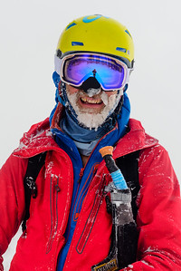 Frosty beard after a cold day of skiing