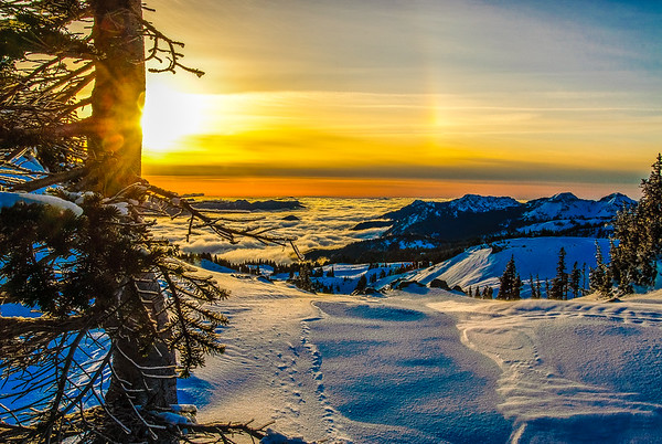 Winter sunset from Mt Rainier, Washington