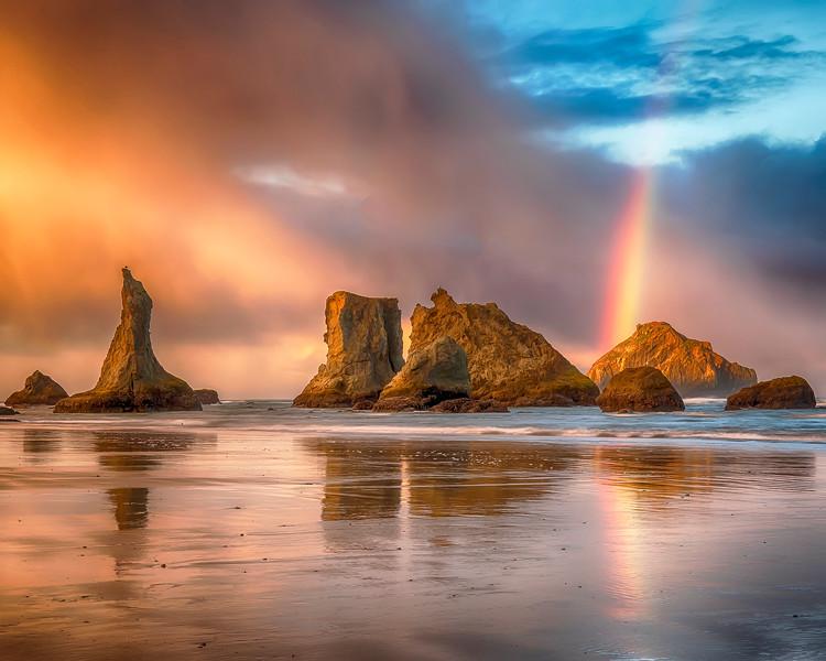 Bandon Beach Sunrise with Facerock Rainbow