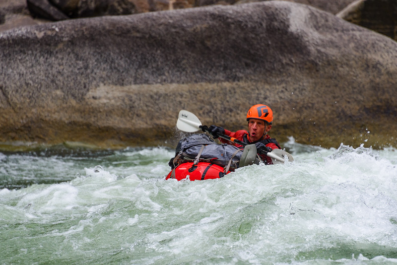 <br>Not surprisingly, the biggest whitewater (though not the most challenging) is on the Main Salmon.  Here's Tim in one of the earlier rapids.