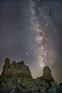 "Arches National Park ""The Windows"" With Milky Way In The Background"