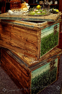 While browsing in the antique mall I ran across these old packing or shipping crates from some place in Asia.  I'm not sure what they originally held, but I thought they looked interesting.    3/22/19 Judith Sparhawk
