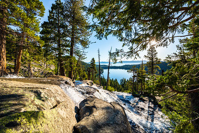 View of Cascade Lake and Lake Tahoe from the top of Cascade Falls