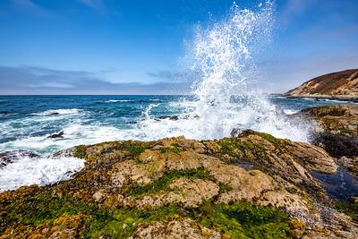 Ocean waves crashing against the rocks