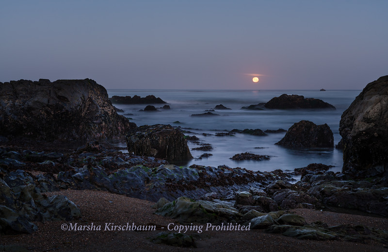Moonset at Moonstone Beach, Cambria
