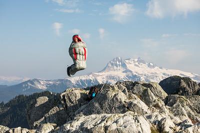 David Wilson, in sleeping bag above Watersprite Lake