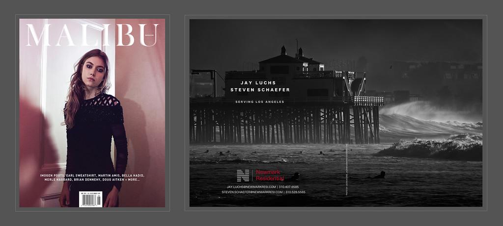Malibu Magazine, June 2015 Issue, two page Ad. Photograph by Jazan Kozma from the 'Hurricane Marie' Series.