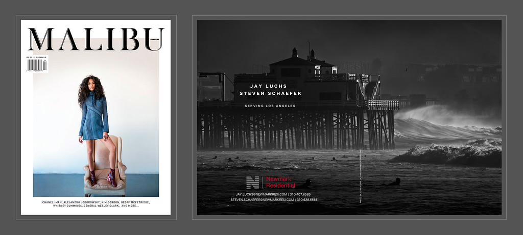 Malibu Magazine, April 2015 Issue. Jay Luchs  and Steven Schaefer Residential and Commercial Real Estate Advertisement. Photograph by Jazan Kozma from the 'Hurricane Marie' Series.