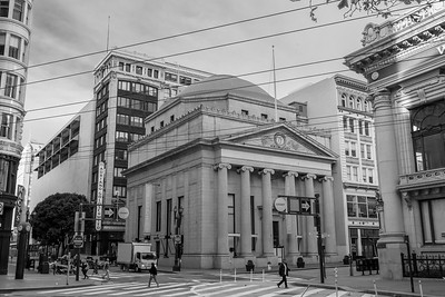 The columned building (1 Grant) was built in 1910.  The building to the right (partially obscured) was built in 1909.
