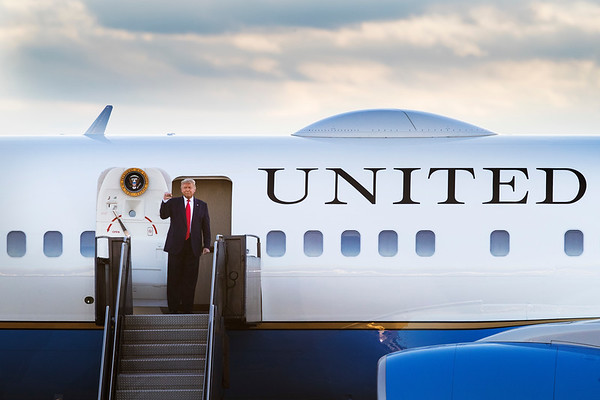 President Donald J. Trump arrives on Air Force One before making remarks at a Make America Great Again event at Pro Star Aviation LLC in Londonderry, New Hampshire, U.S., on Friday, August 28, 2020