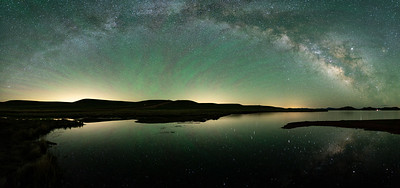 Late May Milky Way panoramic over Antero Reservoir in Park County (South Park), Colorado.  Six vertical images stitched together.  So pleased to catch the zebra airglow!