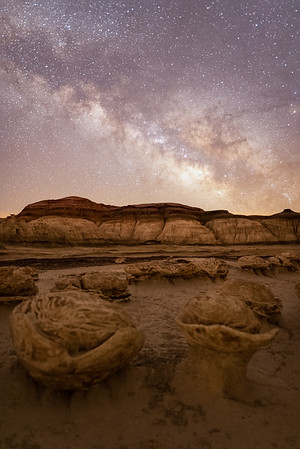 Milky way rising over the Bisti/De-Na-Zin Wilderness Area of New Mexico.