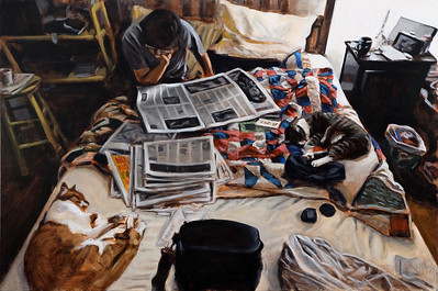 Untitled (news of the day), acrylic on canvas, 38 x 58 in, 2019