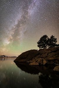 Early November Milky Way and green airglow over Eleven Mile Reservoir.
