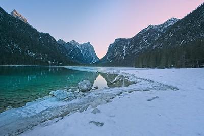 Dobbiaco lake sun-set