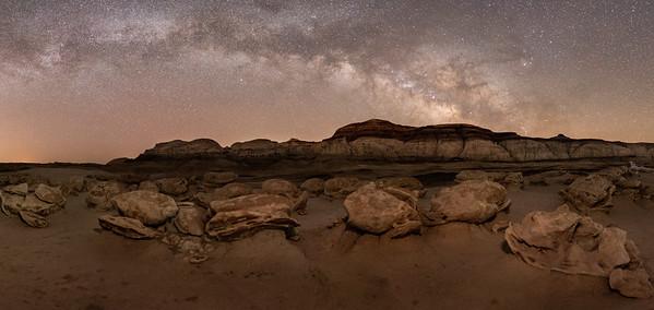 Alien Egg Hatchery!  Milky way rising over the Bisti/De-Na-Zin Wilderness Area of New Mexico.