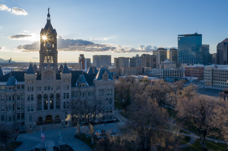 Early Spring Sunset in Downtown Salt Lake City