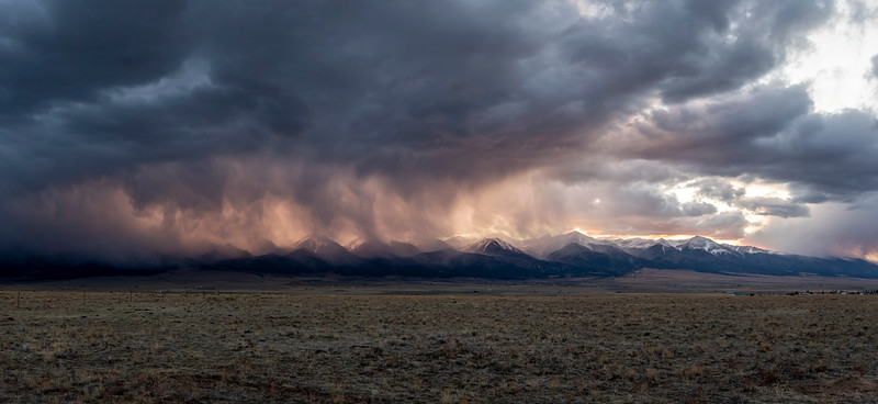 A massive storm lets loose on the Sangre de Cristo Mountains.  Silver Cliff, CO