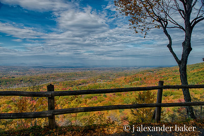 Hudson Valley view in Autumn from Mohonk Mountain trail