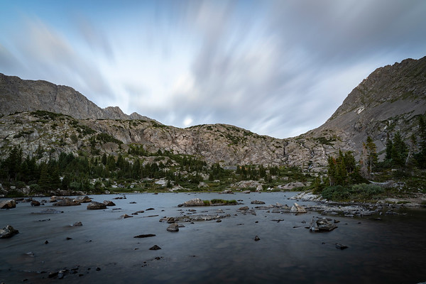 Long exposure with speedy clouds over Mohawk Lake, Summit County, CO.