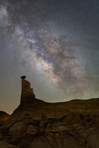 Milky way rising over the Bisti/De-Na-Zin Wilderness Area of New Mexico.  21 shots stacked in Starry Landscape Stacker.