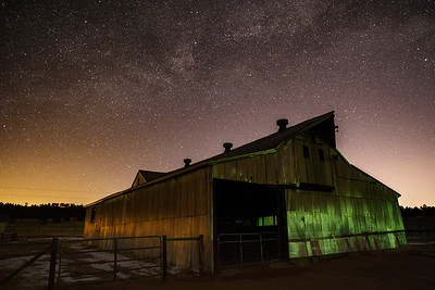Late February Milky Way over horse barn in Teller County, CO.