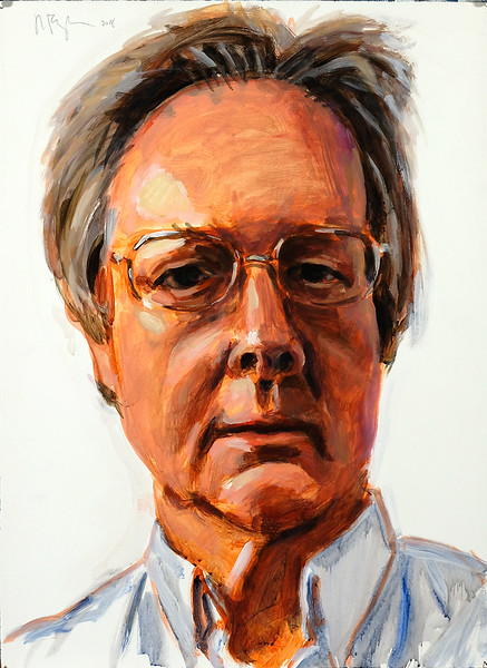 Self portrait at 64; acrylic on paper, 22 x 30 in, 2018