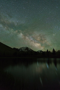 Late May Milky Way over Lake Warner.  La Sal Mountains, Moab, UT