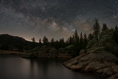 Early spring Milky Way rises over Eleven Mile Reservoir.