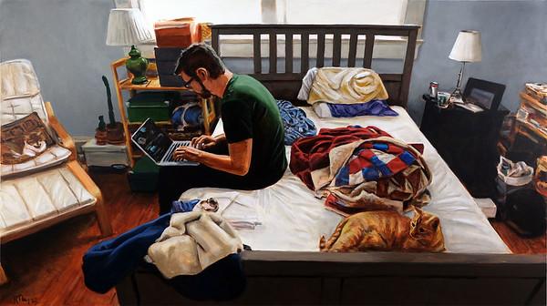 Programming man, acrylic on canvas, 40 x 70 in, 2020