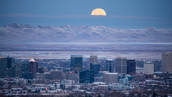 Moonset Over Salt Lake City
