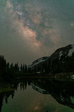 Lost lake reflects the Milky Way on this June evening.  Chaffee County, CO.
