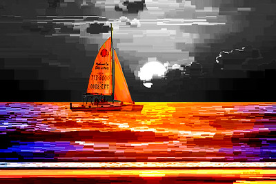 Sailboat Sunset 2 - Digital Painting
